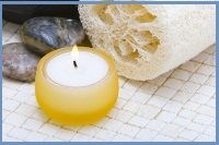 top ten beauty remedies - loofah, relaxing candle