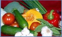 top ten beauty remedies - fresh garlic pumpkin,tomatoes,red peppers, courgettes, brocoli